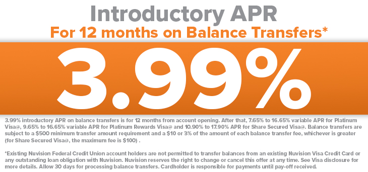 3.99% Introductory APR for 12 Months of Balance Transfers