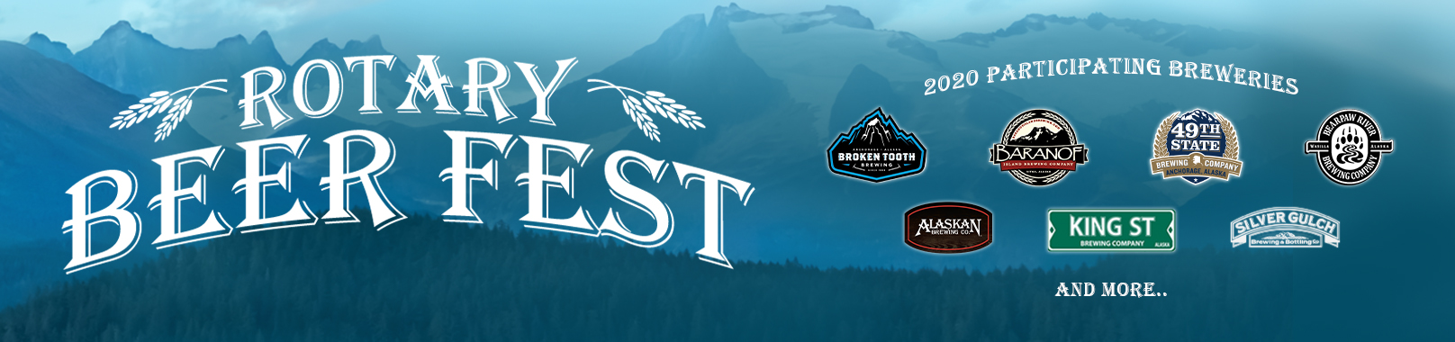 Rotary Beer Fest banner with logos of local Alaskan breweries on a blue backdrop