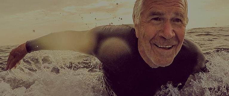 A surfer enjoying his retirement