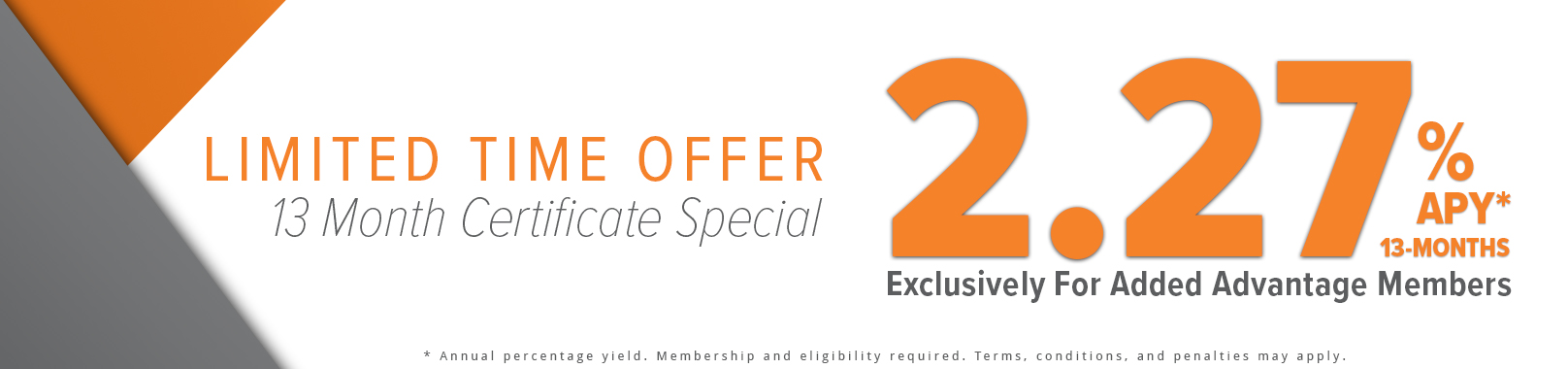 Banner with advertised rates of 2.27% and 2.00% on a gray and orange backdrop.