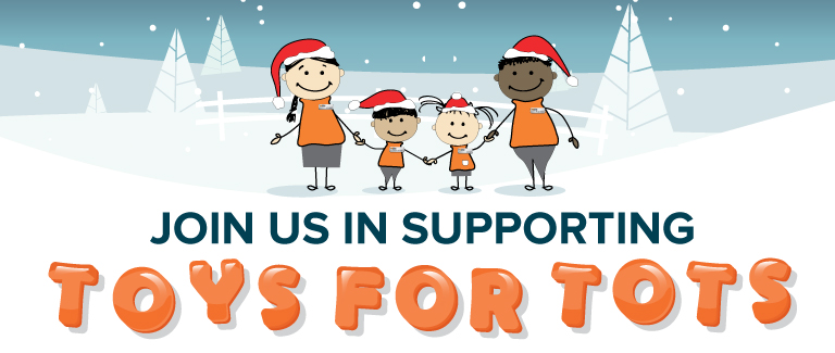 "Snowy white background with a smiling family holding hands. Text reads ""Join us in supporting Toys for Tots"""