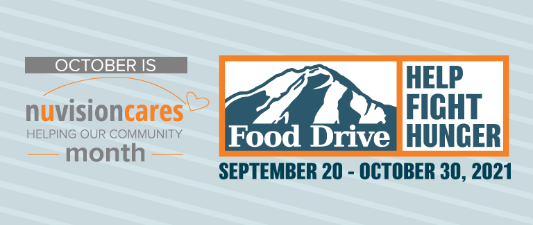 """Light gray striped banner with text reading """"October Is NuvisionCares Help Fight Hunger Month from September 20 - October 30"""""""