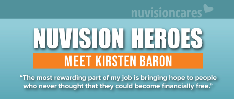 """Light blue and orange banner with text logo reading NuvisionCares. White bold test reads """"Nuvision Heroes: Meet Kirsten Baron""""."""