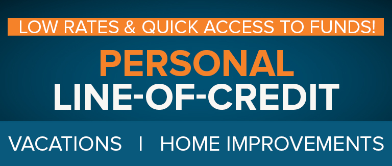 """Dark blue banner with orange and white text reading """"Personal Line of Credit: Low Rates & Quick Access to Funds. Vacations 